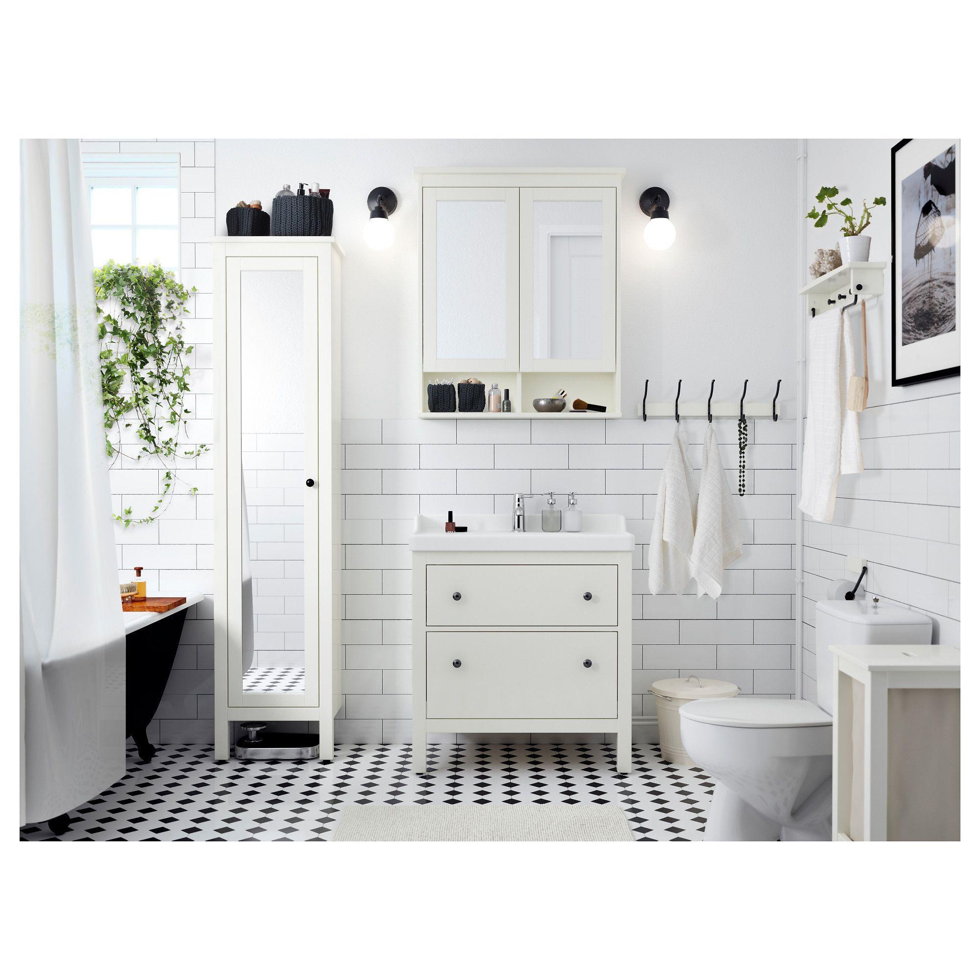 Ikea Hemnes High Cabinet With Mirror Door White