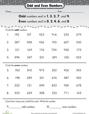 Odd Or Even Worksheet Education Com 2nd Grade Worksheets 2nd Grade Math Worksheets Mathematics Worksheets