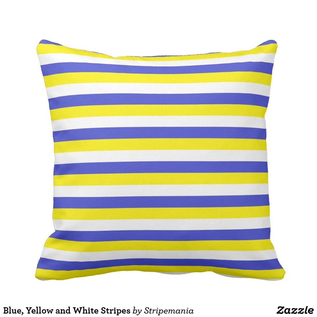 Yellow and blue striped throw pillow