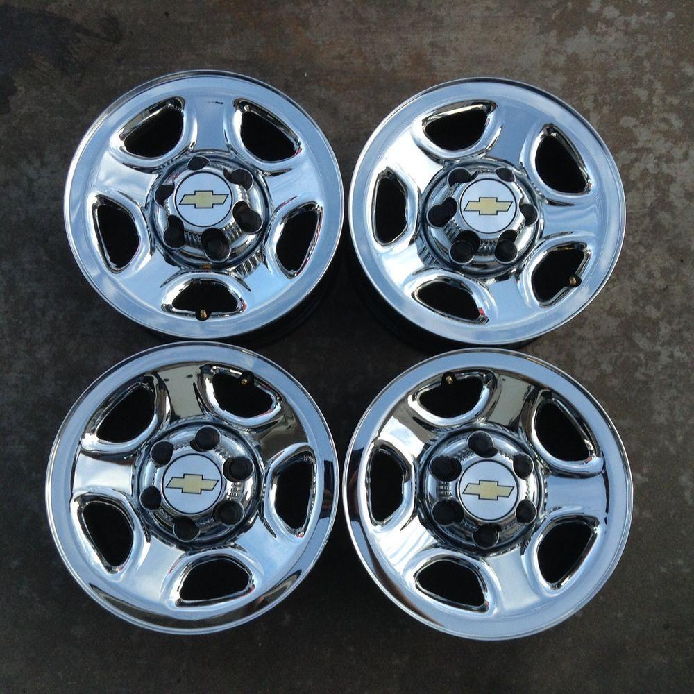 99 08 Set Of 4 Wheels Rims Chevy Silverado Sierra 16 Chrome Steel Oem 5129 Chevygenuineoe Chevy Silverado Wheel Rims Rims