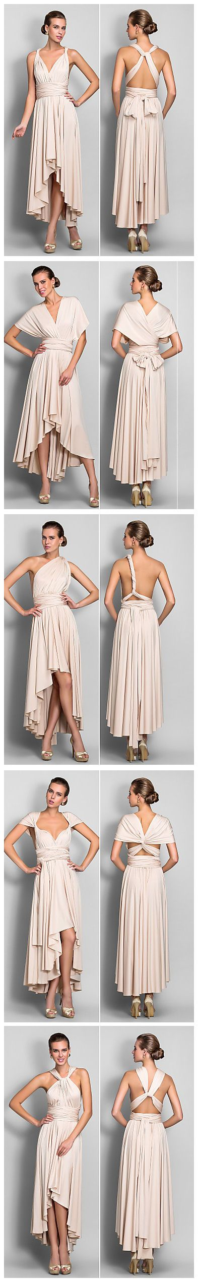 Infinity dresses the working bride - A Line V Neck Asymmetrical Jersey Bridesmaid Dress With Sash Ribbon Pleats By Lan Ting Bride