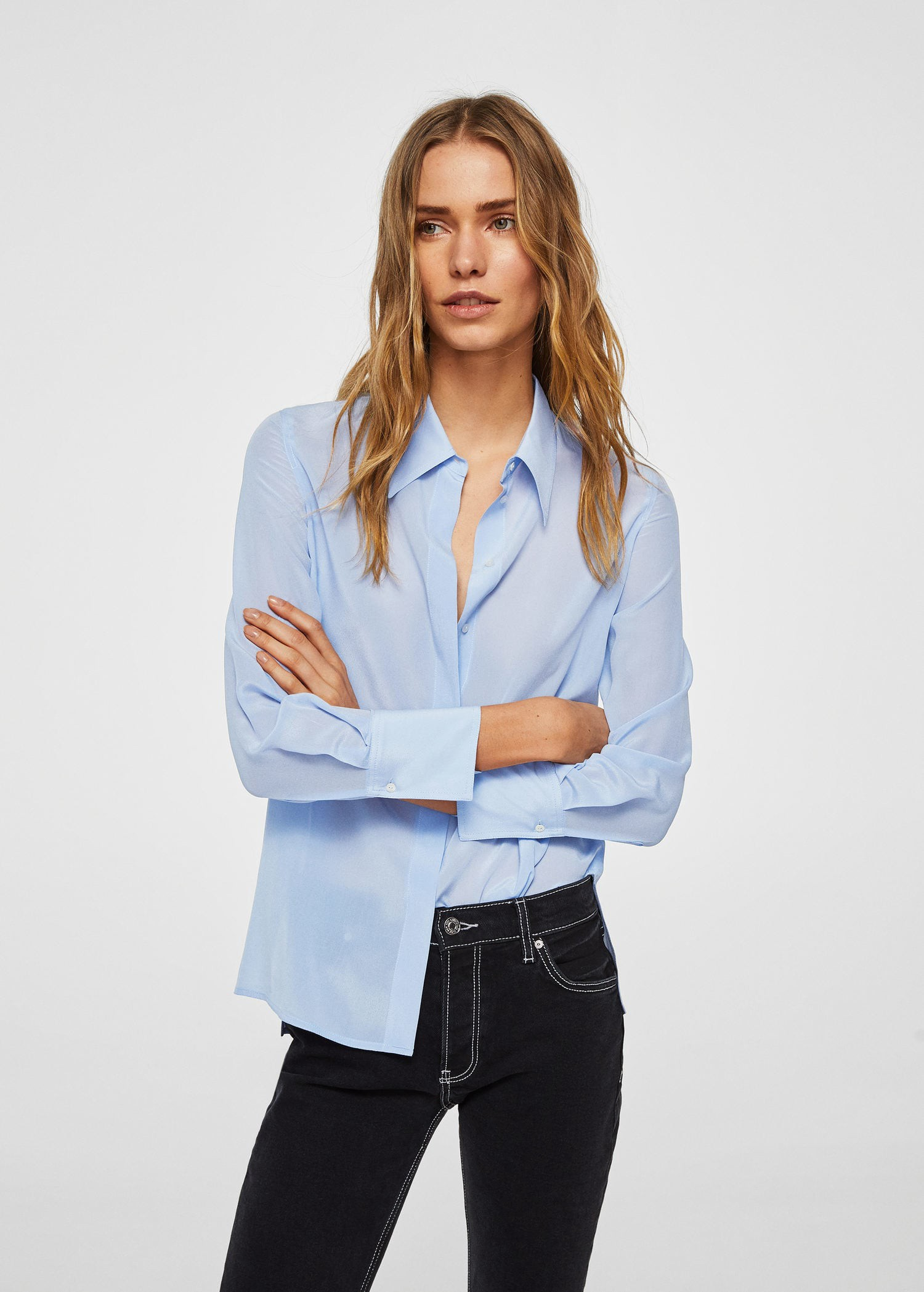 26e1104a56b07 Mango Silk Shirt - Sky Blue 6
