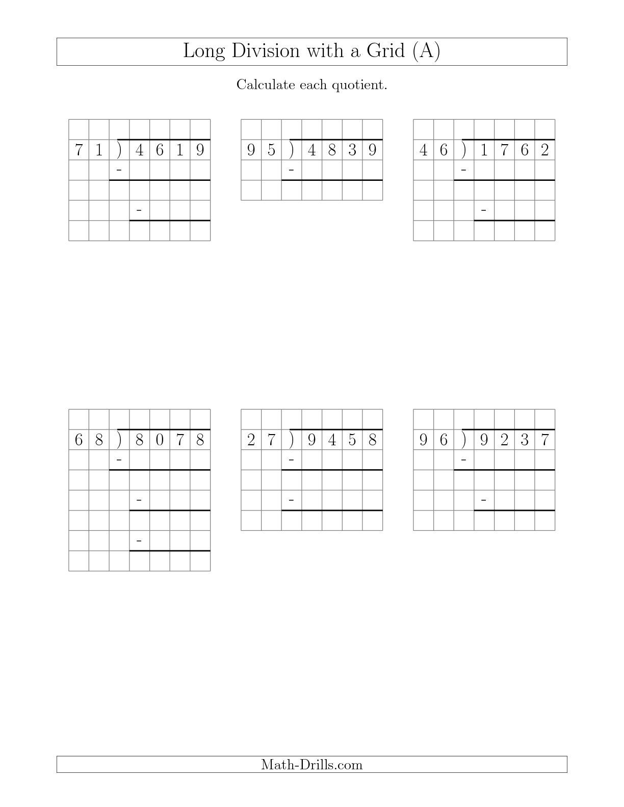 The Long Division With Grid Assistance And Prompts 4 Digit