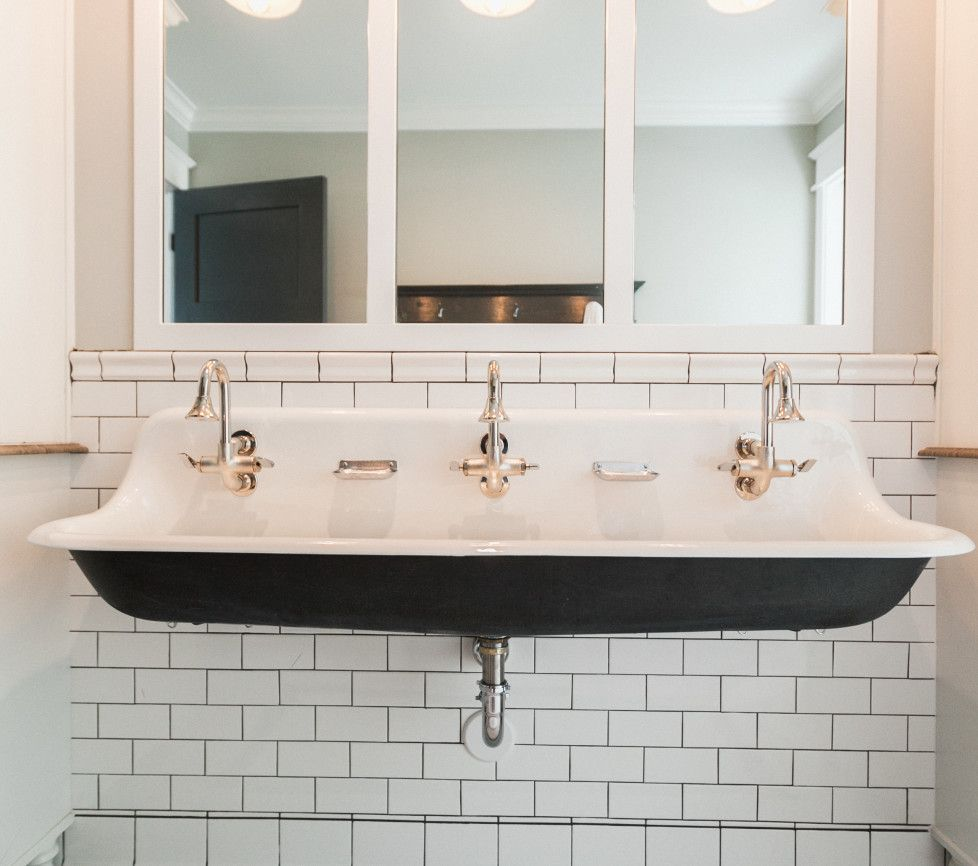Beautiful Trough Sink, Double Faucets, White Subway Tile In Bathroom