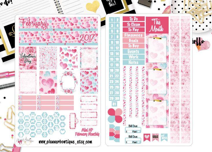 Roses EC /& HP BIG Happy Planner StickersValentine/'s Day Planner Sticker Kit