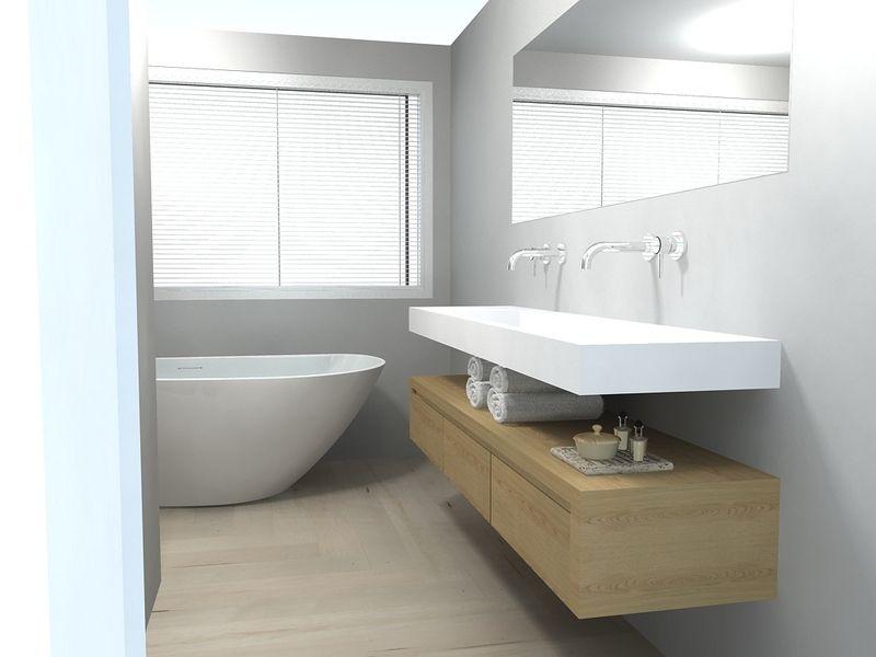 Badkamer met houten vloer   Badkamer   Pinterest
