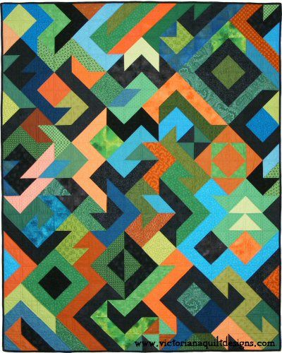 Triangle Party 2 Quilt Pattern. Available exclusively through Victoriana Quilt Designs here: http://www.victorianaquiltdesigns.com/VictorianaQuilters/PatternPage/TriangleParty2/TriangleParty2.htm #quilting
