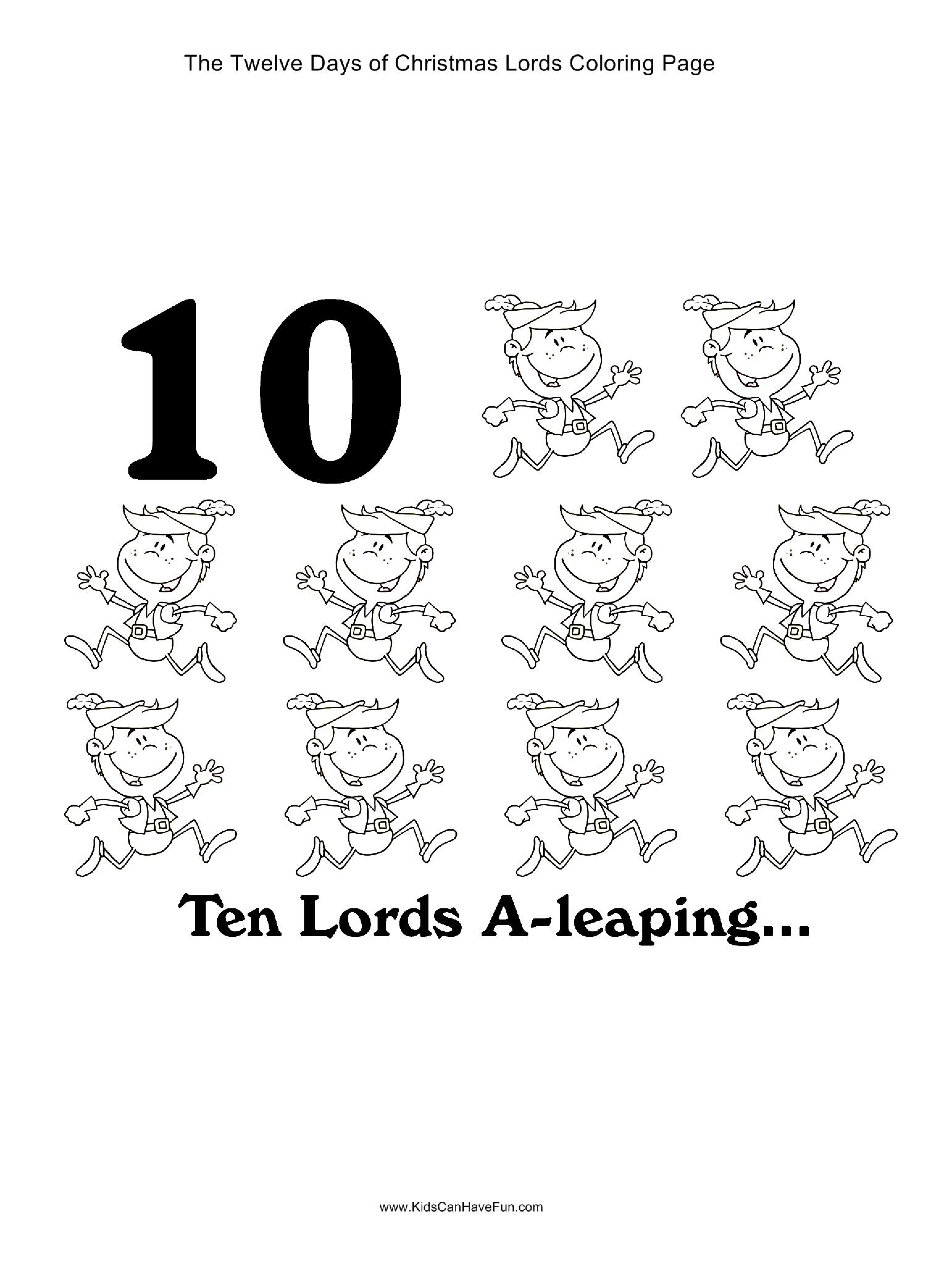 12 days of christmas ten lords a leaping coloring page for 12 days of christmas coloring page