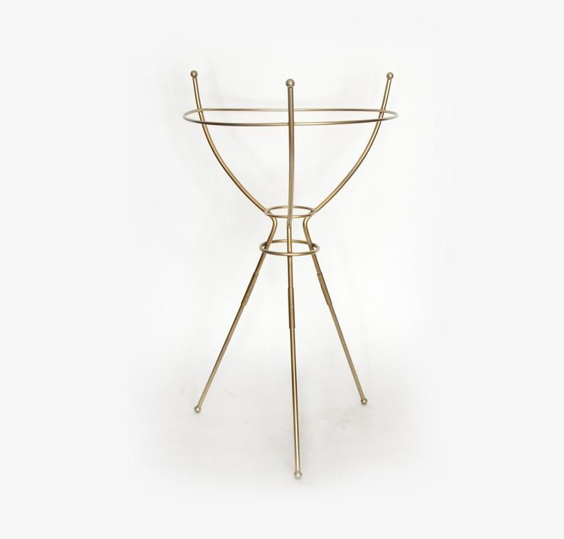 Mid Century Gold Tone Metal Plant Stand Holder 24