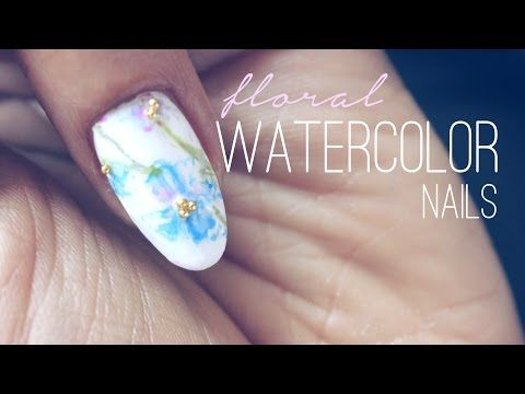 Japanese Nail Art Tutorial ネイル Water Color Flower Trailer