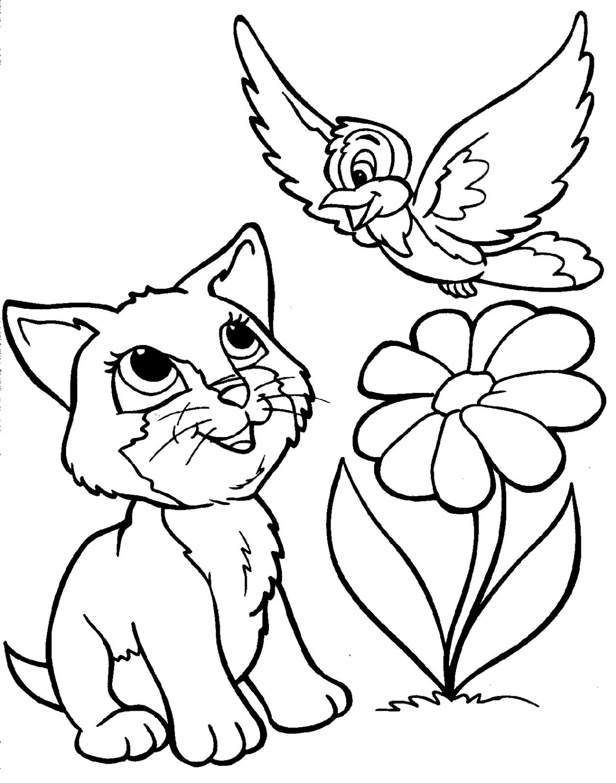 a cat and bird coloring for kids animal coloring pages kidsdrawing free coloring pages online - Animals Coloring Book