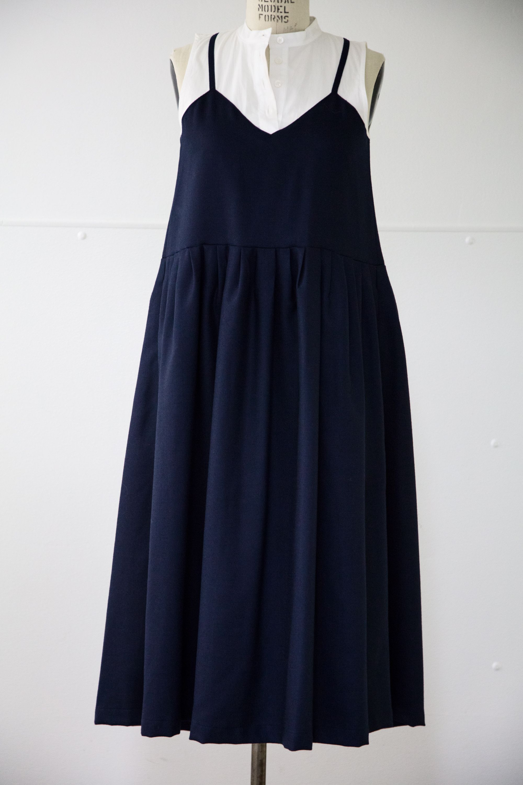 UPPER LEVEL SEA Oversized Navy Pleated dress with builtin