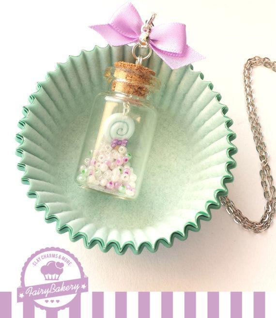 Lollipop in a bottle necklace. Food jewelry by FairyBakery on Etsy