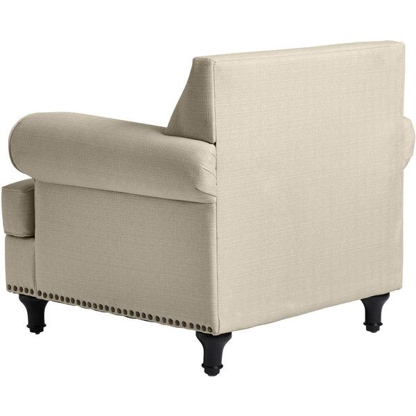 Pier 1 Imports Ivory Carmen Chair ($510) ❤ liked on Polyvore featuring home, furniture, chairs, pier 1 imports furniture, antique white chairs, nailhead furniture, beige chair and nailhead trim chair