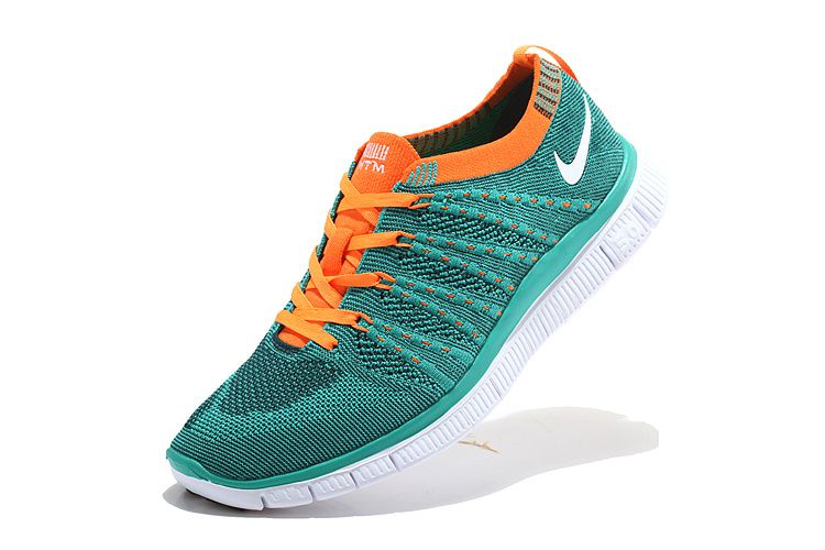 Nike Free 5.0 Flyknit Shoes Women Blue Orange White