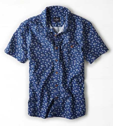 AEO Patterned Short Sleeve Button Down Shirt | Clothing ...