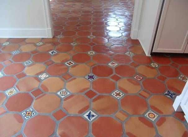 Floor Tiles With Decorative Tile Inserts Google Search Flooring Saltillo Tile Spanish Style Bathrooms