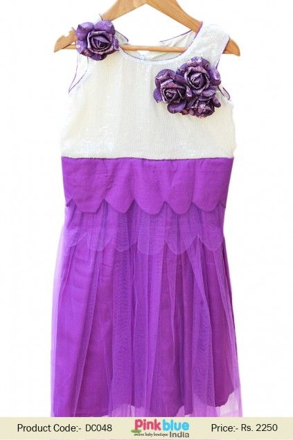 ecf93e49f Purple and White Wedding Sequins Dress for Girls With Flower Bunch