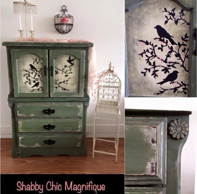 Pending Delivery $425.00 Beautiful Hand Painted Bird Scene Armoire.