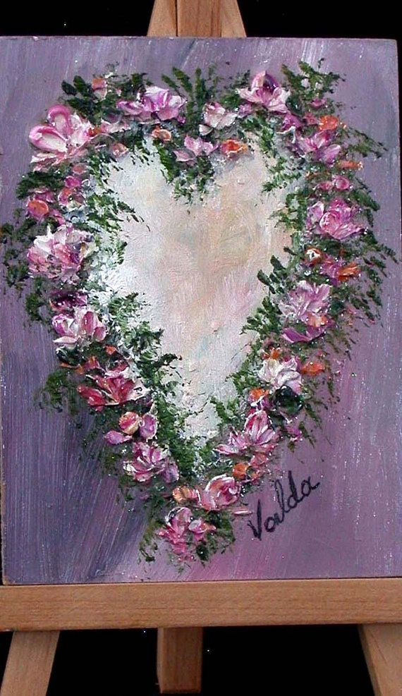 Floral Heart 3x4 small original oil by valdasfineart on Etsy