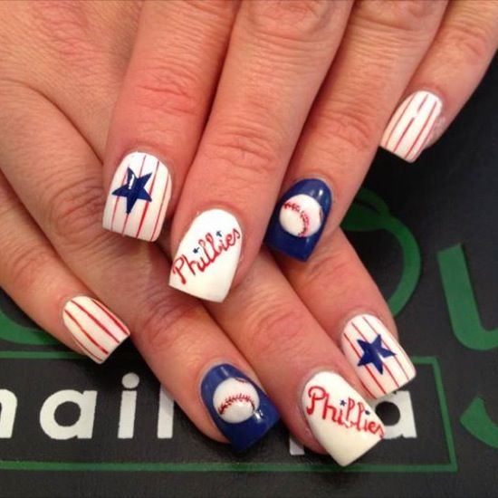 Phillies Baseball team nail design by Envy Nail Spa - Phillies, Baseball, 3D, Pinstripe Nails - Envy Nail Spa Sports