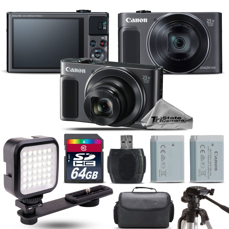 Canon Powershot Sx620 Hs Black Digital Camera Extra Battery Led 64gb Dicapac Wp S10 Waterproof Case For Slr Dslr Cameras Kit Canoncameraextras Canonpowershotdigitalcamera