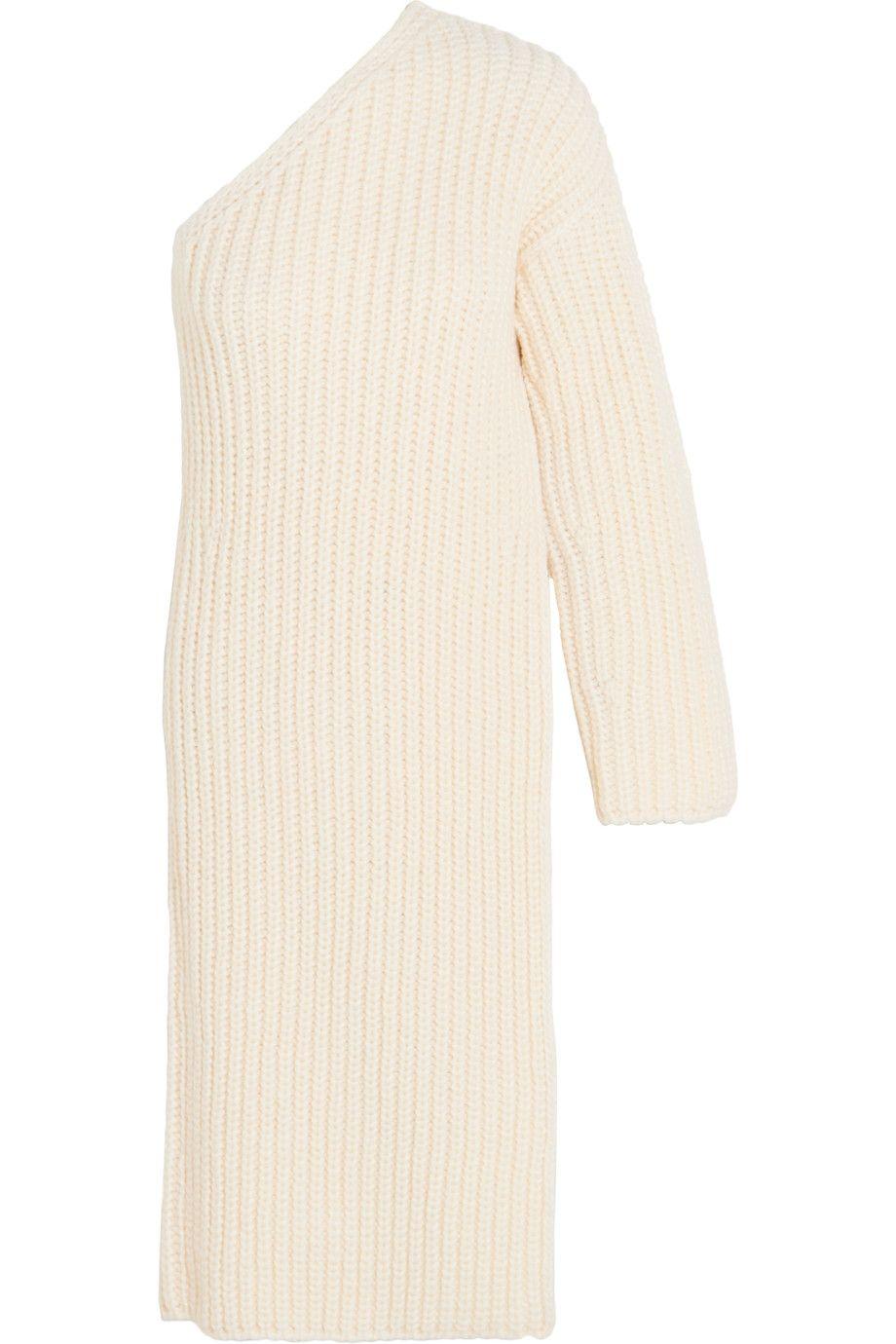 ff2a6a5f490 STELLA MCCARTNEY Asymmetric Ribbed-Knit Wool-Blend Sweater Dress.   stellamccartney  cloth  dress
