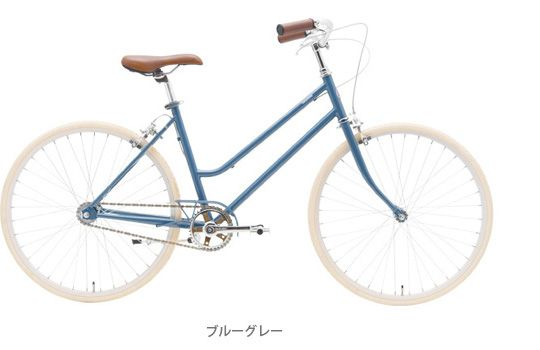 tokyobike lite. The translation leads me to believe that this singlespeed was designed specifically for women. It has a primary colorway and a pastel colorway. I love this cornflower blue; you don't see this color very often. The delicate chainguard is aesthetically pleasing, but I'm not sure how effective it would be.