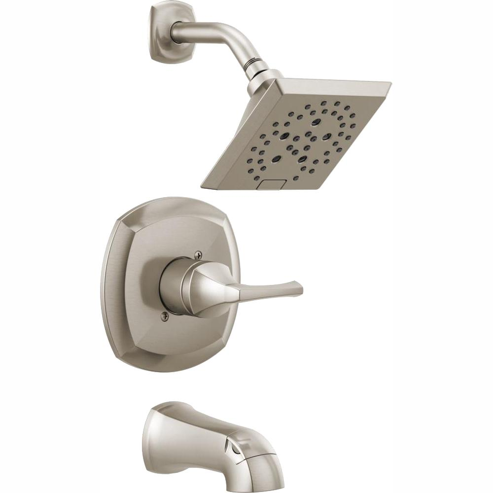 Delta Portwood Single Handle 5 Spray Tub And Shower Faucet With H2okinetic In Spotshield Brushed Nickel Valve Included 144770 Sp Tub And Shower Faucets Shower Tub Shower Faucet