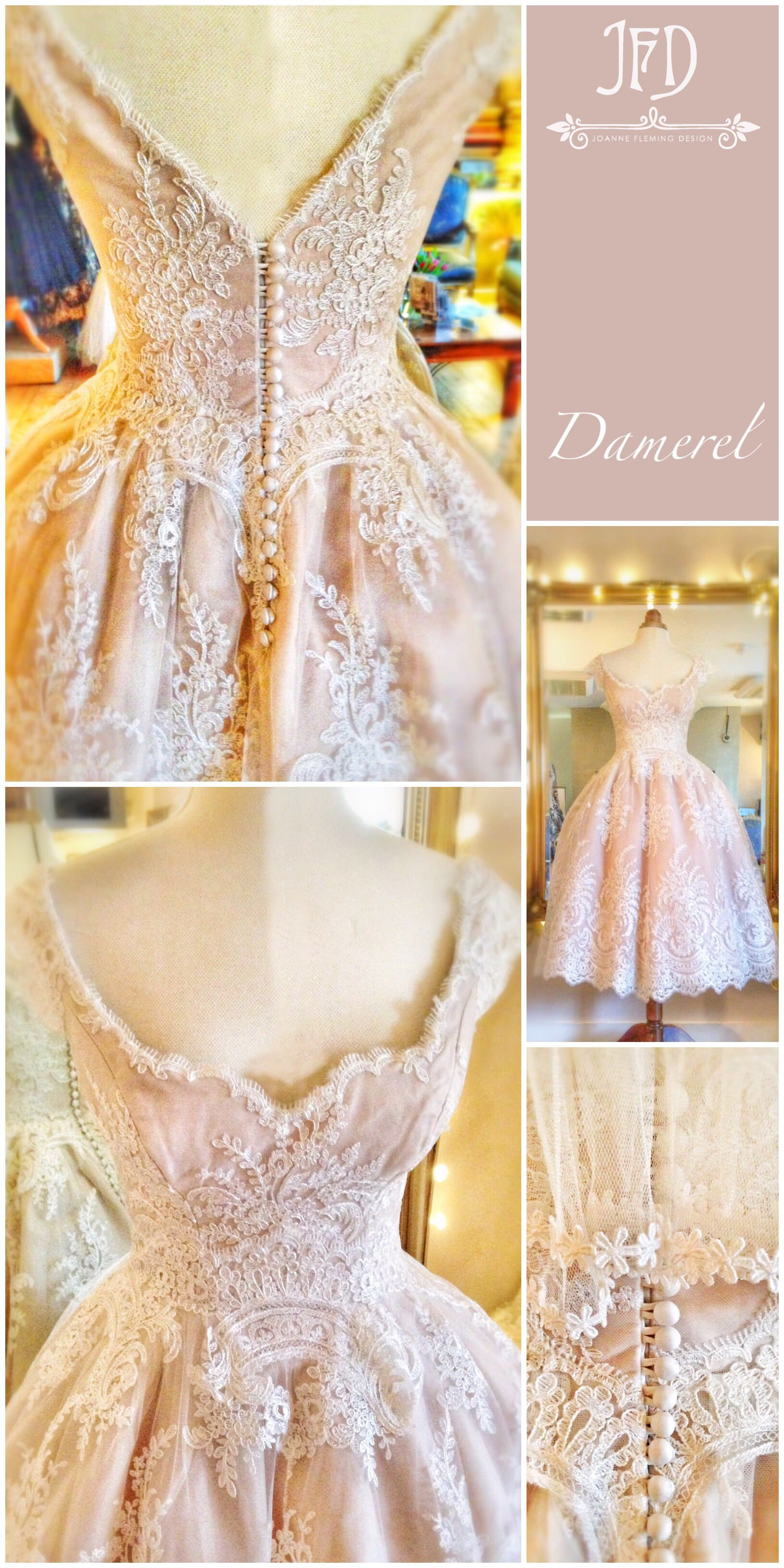 2c773019aab Ivory French lace and blush silk tea length wedding dress by Joanne Fleming  Design