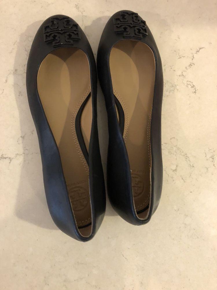 1e102f765c Tory Burch Melinda Powder Coated Black Leather Flat In Size 7 ...