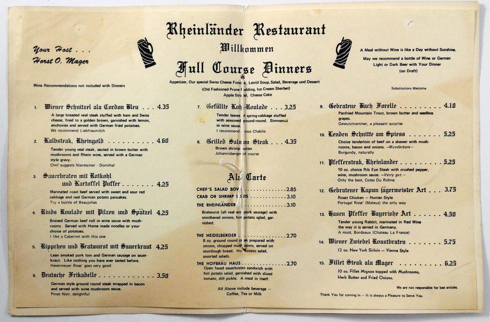 1960u0027s Vintage Dinner Menu DER RHEINLANDER German Restaurant - dinner menu