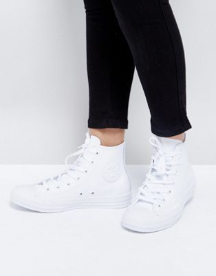 baskets converse chuck taylor all star en cuir blanc