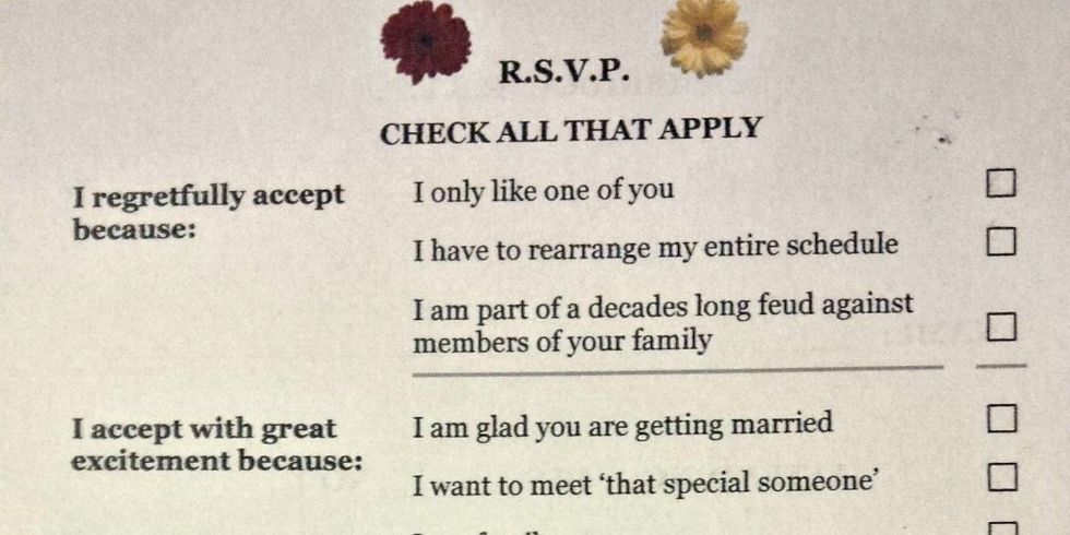Funny Wedding RSVP Card Repinned From Los Angeles County California Marriage Officiant