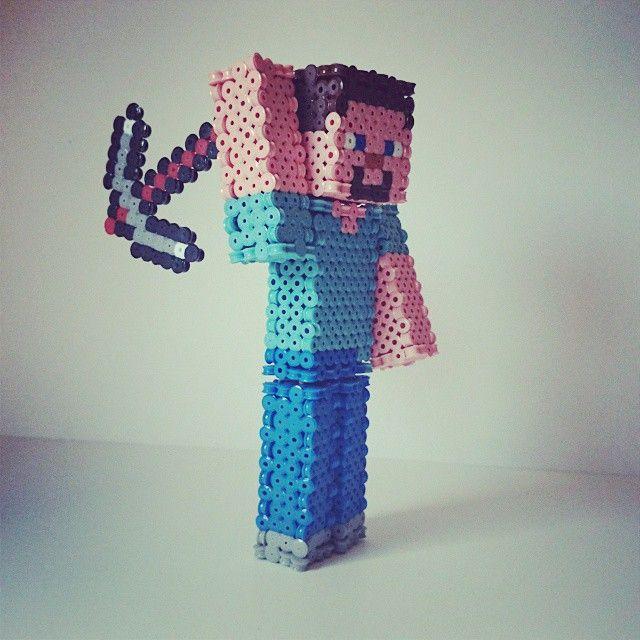 3d Steve Minecraft Hama Beads By Flogaryt Hama Beads