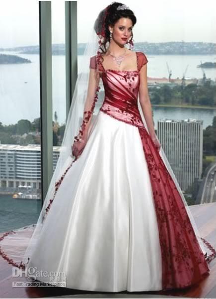 Whole Custom White Burgundy Wedding Dress Size Colour Free Shipping 216 16