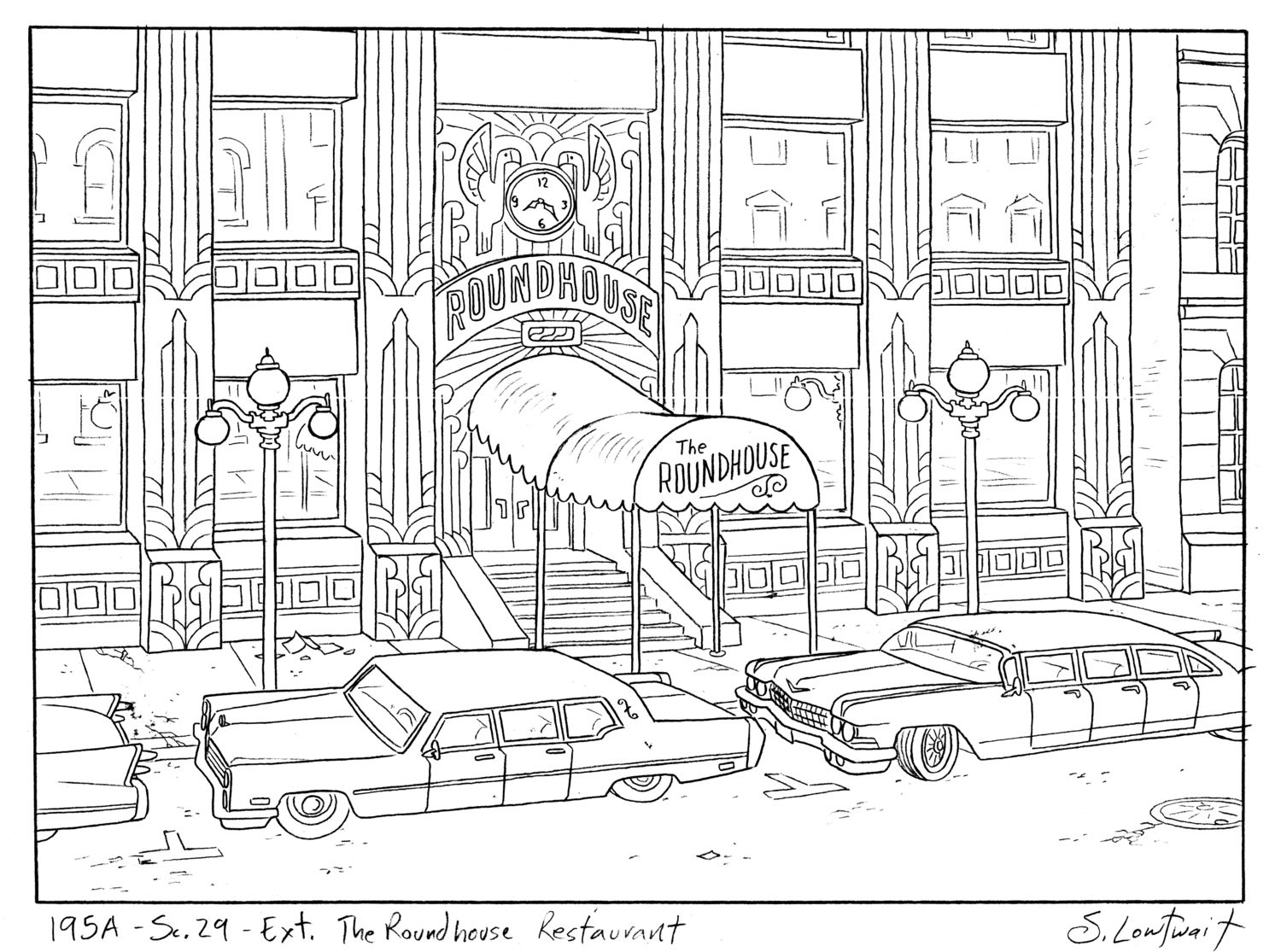 The Roundhouse Is One Of The Top Restaurants In The City That Art Deco Detail Doesn T Come Cheap Limo Cityscape Drawing Colouring Pages House Colouring Pages