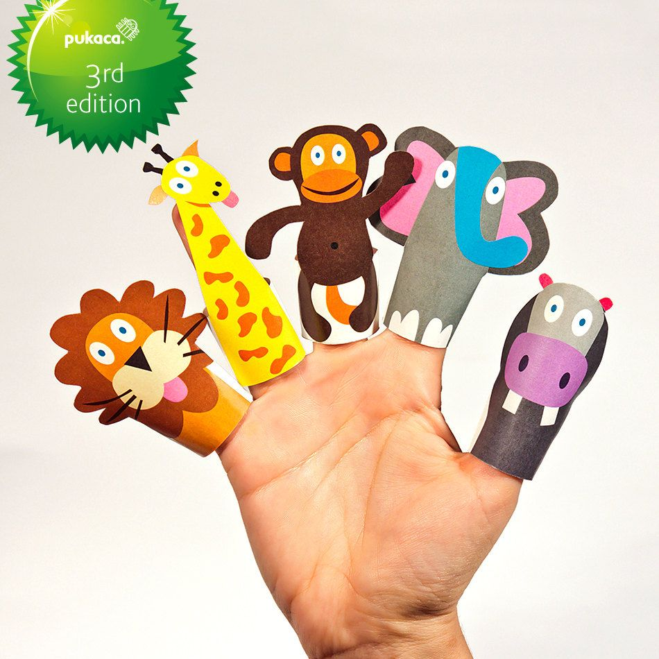 service project idea  JUNGLE ANIMALS Paper Finger Puppets - Printable Pdf - DIY Craft Kit