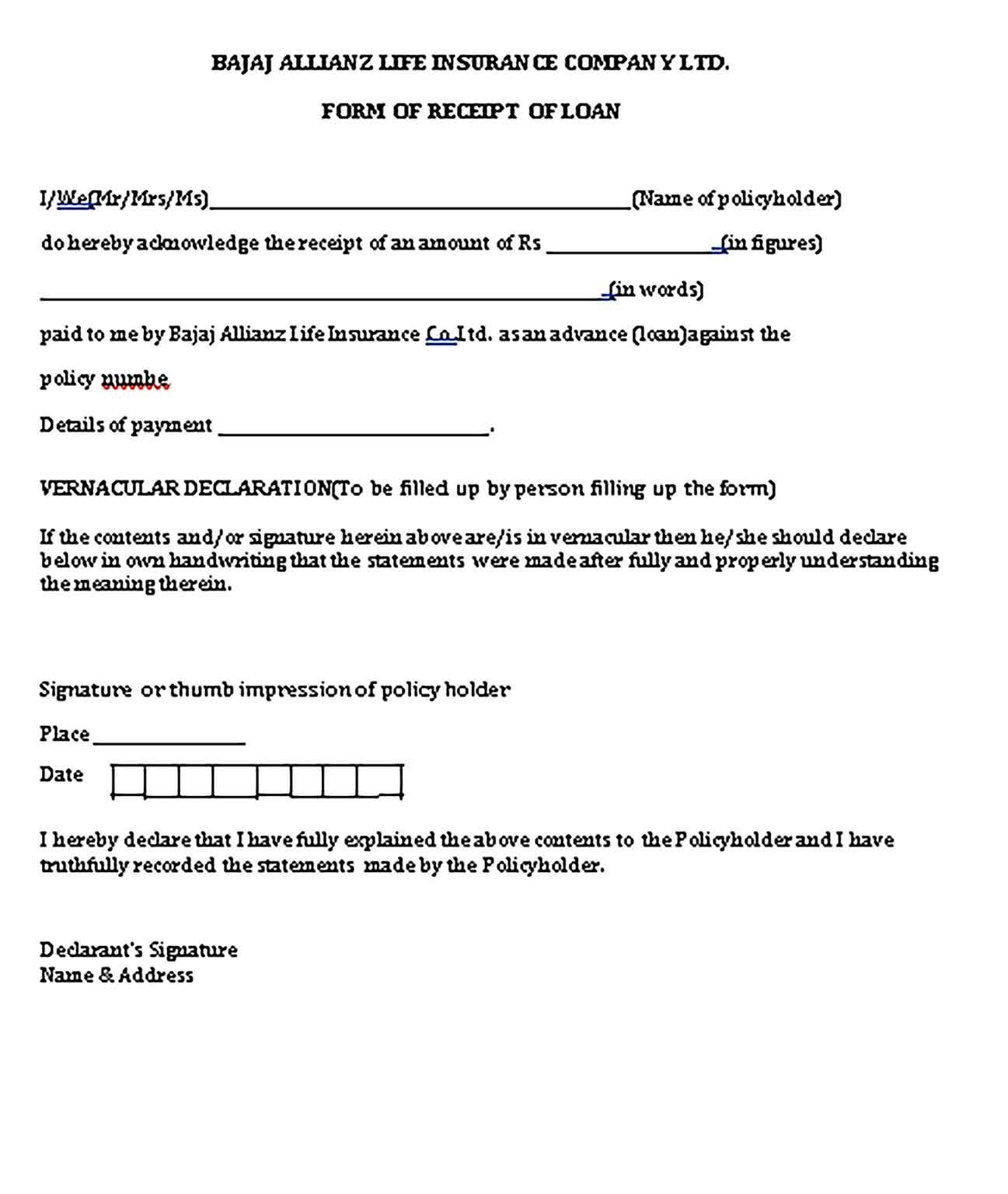 Sample Loan Receipt Template