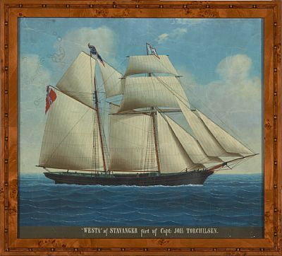 """MARINEMALER 1800-/1900-TALLET 0  """"Westa af Stavanger"""" Gouache på papir, 37x41 cm (L) Usignert Påskrift: """"""""Westa"""" af Stavanger fört af Capt. Joh: Torchilsen."""""""