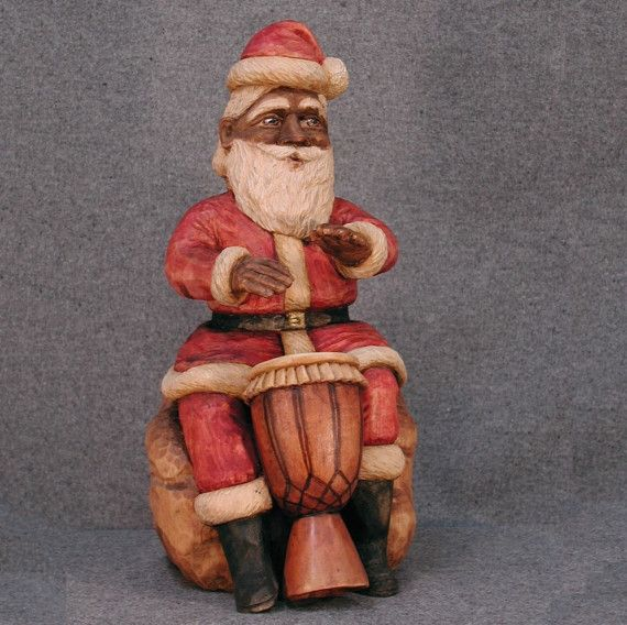 Hand Carved Drummer Santa by Cahvah on Etsy, $900.00