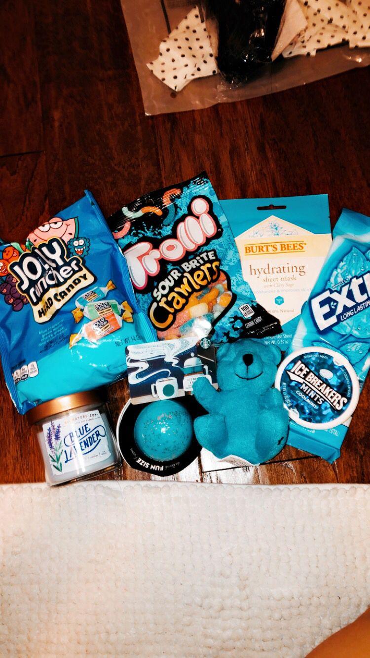Pinterest Pghenze Diy Birthday Gifts Blue Gift Basket Birthday Gifts For Teens