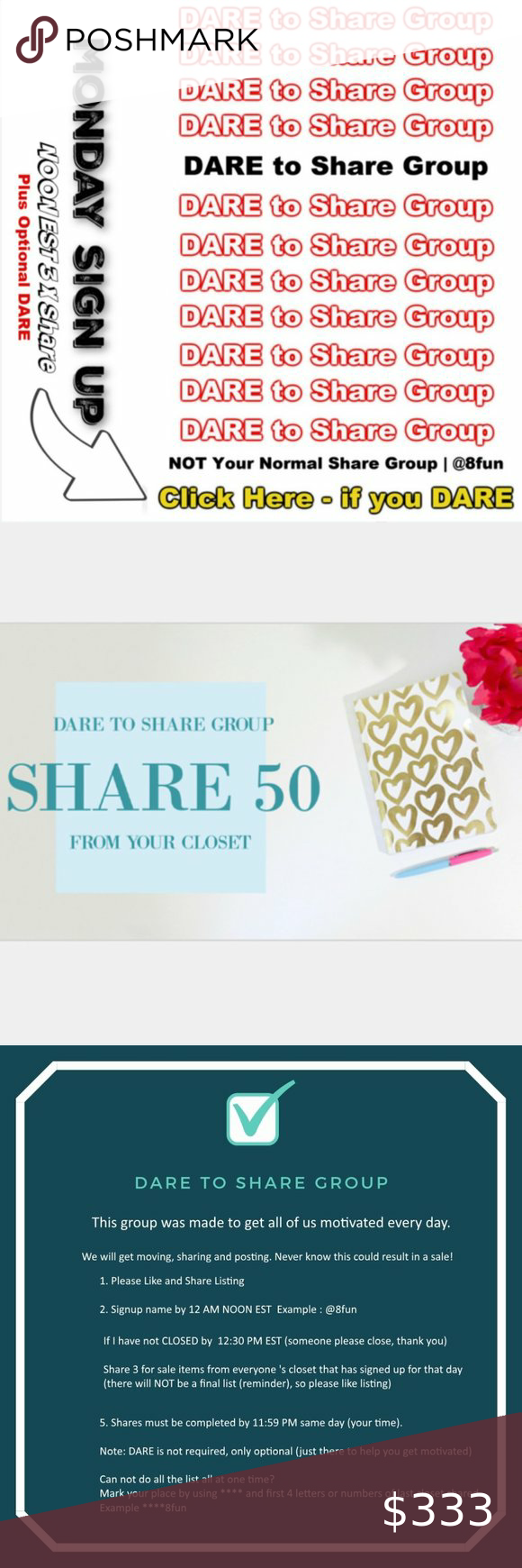 Open 7 25 2020 Saturday Dare To Share Group 1 Please Follow Like And Share Listing 2 Signup By 12 Noon Est Example 8fun Dares Things To Sell Sign Out