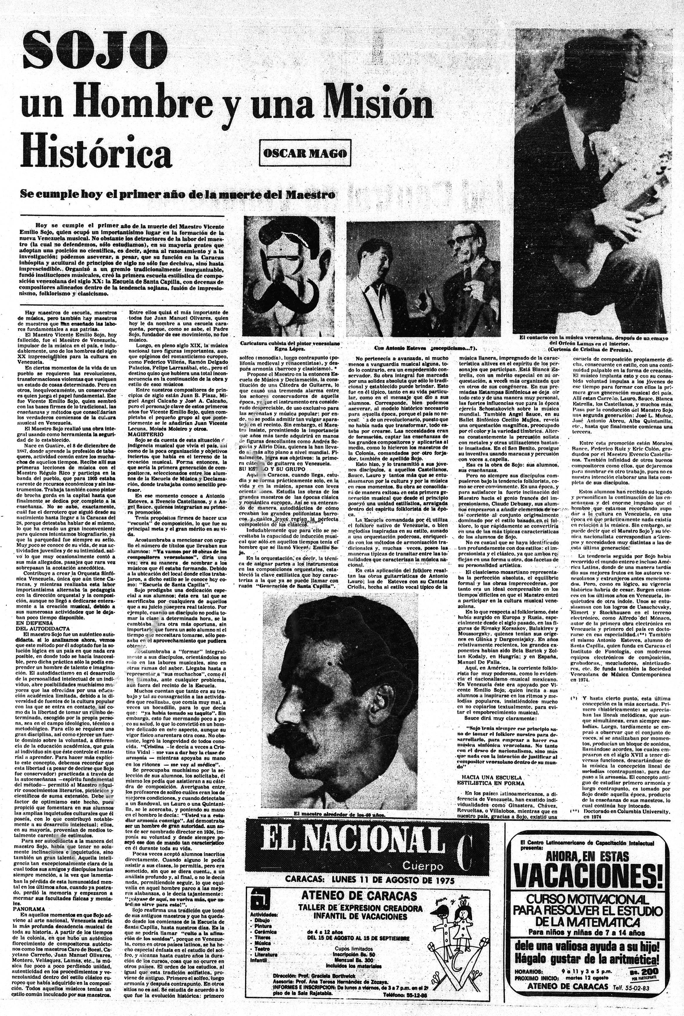 SOJO un Hombre y una Misión Histórica. Publicado el Lunes 11 de Agosto de 1975.