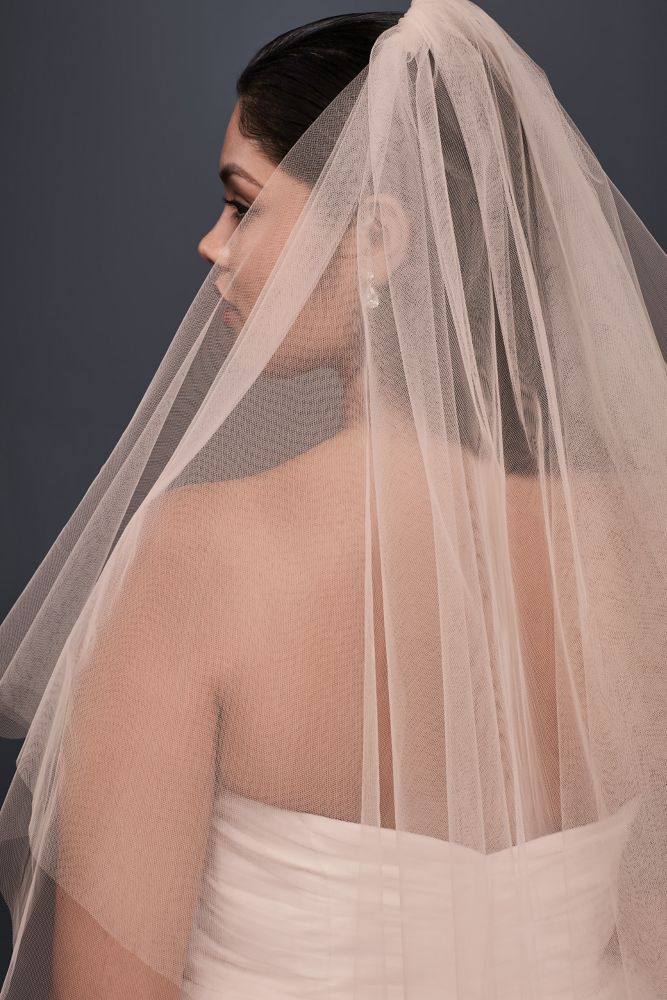 Two Tiered Whisper Pink Fingertip Veil Style 492b