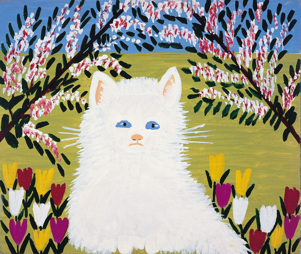 White Cat by Maud Lewis (19031970), Canadian