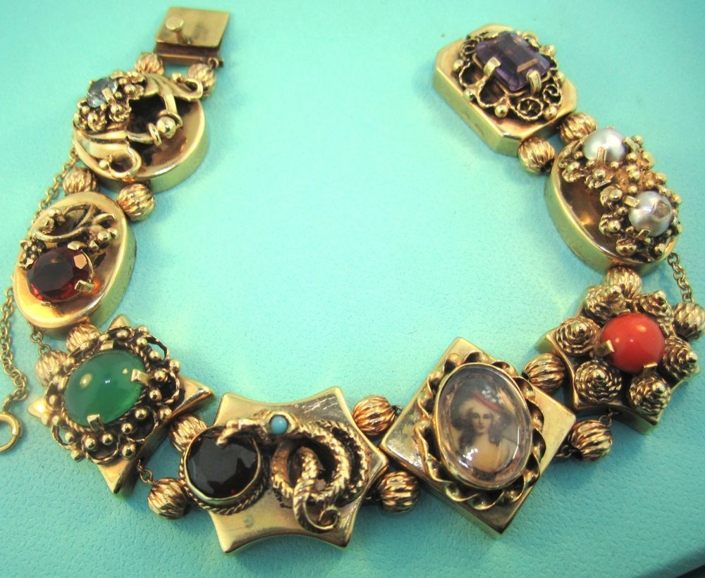 Antique Victorian 14k Gold Slide Charm Bracelet With Cameo