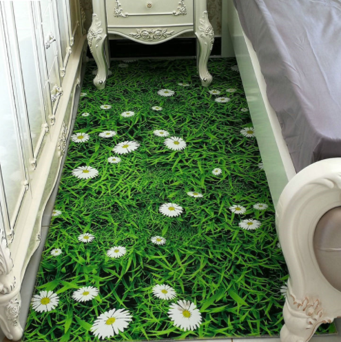 Green Grassland Daisy Flower Room Floor Carpet Non-skid Door Bath Mat Decor Rugs
