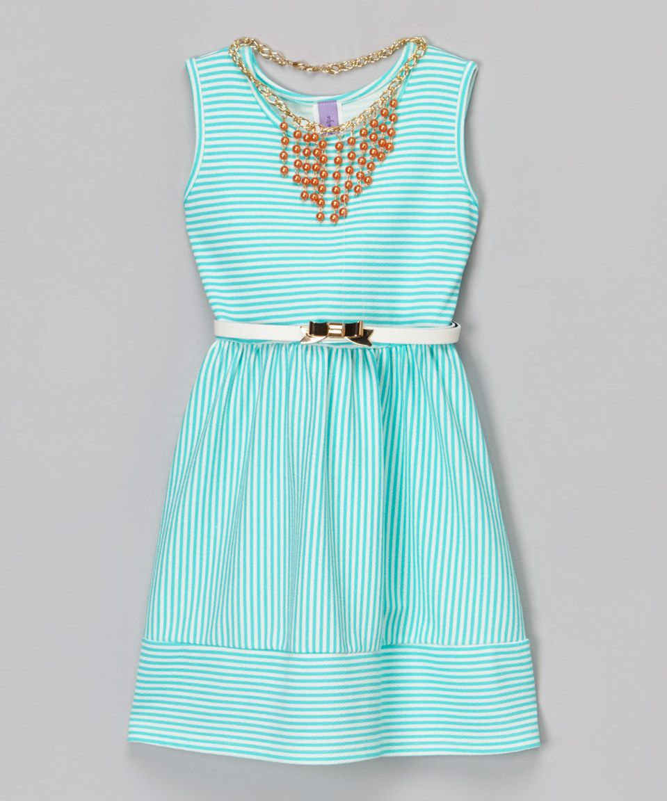 This Mint Stripe Belted Dress & Faux Pearl Necklace - Girls by Maya Fashion is perfect! #zulilyfinds