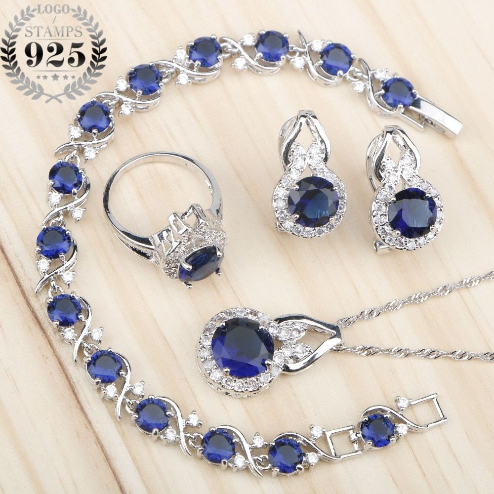 Photo of Blue Zircon 925 Silver Stones Jewelry Sets   offtobuy.com